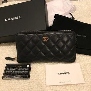 Chanel Lambskin large zip around wallet